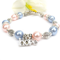 Pink and Blue Awareness Bracelet, Infertility Awareness, Loss of an Infant, Sudden Infant Death