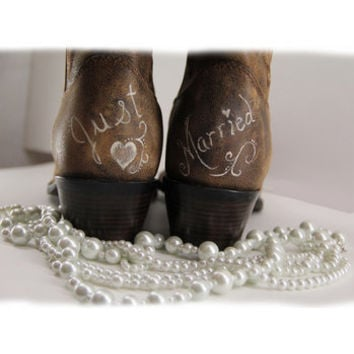 Handpainted Just Married Brides Boot