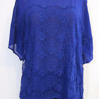 Chiffon Lacey Blouse Sheer Split Back-Plus Size-Blue