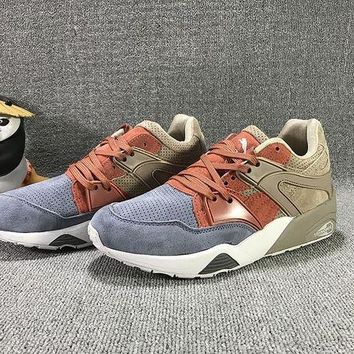 DCCKIJ2 Puma Trinomic Blaze Suede Mid-High Casual Shoes Sneaker Blue Brown