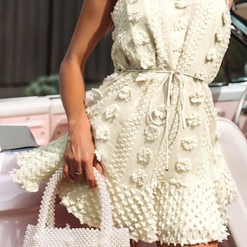 Daytime Delight White Floral Pattern Embroidery Sleeveless Spaghetti Strap Scoop Neck Tie Belt Flare A Line Casual Mini Dress