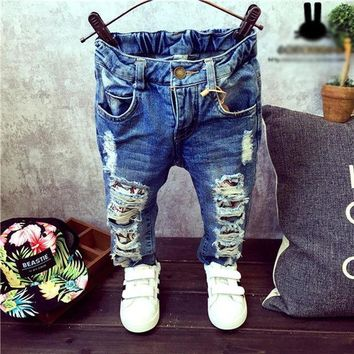 Children Broken Hole Pants Trousers 2016 Baby Boys Girls Jeans Brand Fashion Autumn 2 7yrs Kids Trousers Children Clothing Zj04
