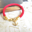 KNOTTY v6 red nautical rope bracelet with anchor charm by brideblu