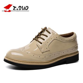 Patent Leather Flats Shoes Comfortable Casual Brogue Shoes for Women Genuine Leather Lace-up Red Women's Shoes