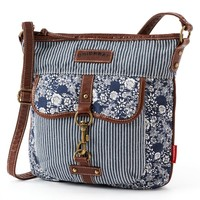 Unionbay Striped Floral Denim Crossbody Bag