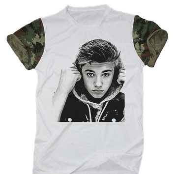 Justin Bieber Shirt White Camo Camouflage Indie Rocker Hipster T-Shirt Size S M L