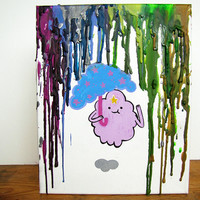 Adventure Time Inspired Painting - Lumpy Space Princess - LSP - Colors - Melted Crayon