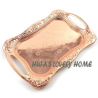 stainless steel rose golden dish plate/ metal serving tray delicate ss plate/platos dorados/tableware metal plate