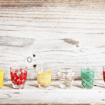 Six small vintage aperitif glasses, Digestive cups, Spring colors, Liquor glasses, Bar ware, Glassware, Party