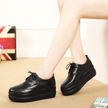 England Style Pointed Toe Thick Crust Wedge Height Increase Shoes [8939349958]