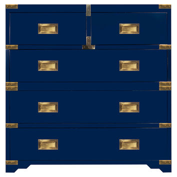 "Kimber 39"" Campaign Chest, Navy, Chest of Drawers"