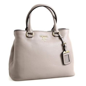 Prada Women's 1BA058 Grey Leather Shoulder Bag