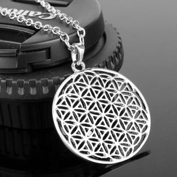 Silver Plated Tone Flower of Life Pendant Necklace Mandala Sacred Geometry Jewelry Fleur De Vie Accessories