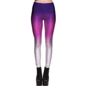 Ombré Pink and Purple Gradient Digital Print Legging Pants for Women