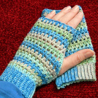 Lacy Crochet Fingerless Gloves in shades of blue and green