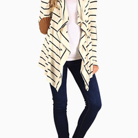 White Black Striped Suede Elbow Patch Maternity Cardigan