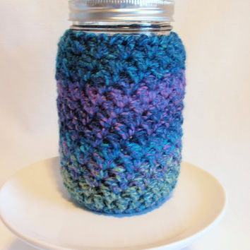 Mason Jar Cozy  Multi colored Aquamarine with Jewel Tones 32 oz. QUART Size Insulates Drinking Jar Hot and Cold