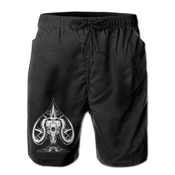 Ace Of Spades Devil Goat Skull Mens Fashion Casual Beach Shorts