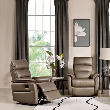 Walsh Manual Reclining Accent Chair in Coffee Air Leather