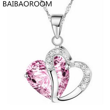Fashion Jewelry Crystal Women Necklace Short Knife Heart Love Pendant Necklace Female Chain bone