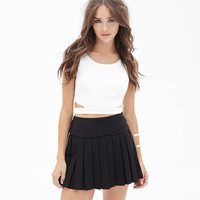 Black Wrap Waist Buckled Pleated Mini Skirt