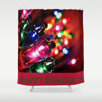 HAPPY HOLIDAYS Shower Curtain by Jessica Ivy