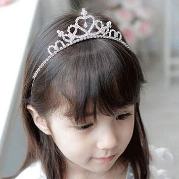 Valentine's Day Crystal Tiara Headband Kid Girl Bridal Princess Prom Crown Party Accessories Girls Princess Prom Crown Headband