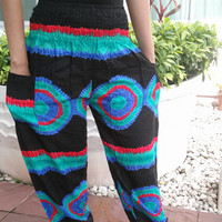 Art Tie dye Print Pants Hipster Reggae Yoga Native Hippie Massage pant Gypsy Clothing Women Tiedye Festival Boho Beach Summer Bohemian Teen