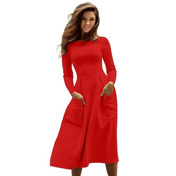 Chicloth Red Bateau Collar Casual Big Pocket Skater Dress