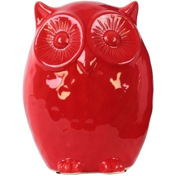Ceramic Gloss Finish Red Owl Figurine