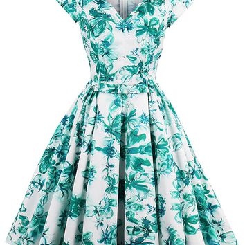 Atomic Green Floral V-Neck Midi Dress