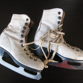 Children Vintage Leather Ice Skates-White Ice Skates - Winter Decor