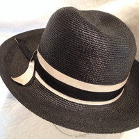 Vintage 50's Black and White Straw Hat