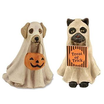 Bethany Lowe Spooky Ghost Dog and Ghost Cat Figurines (Set/2)