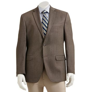 Van Heusen Straight-Fit Checked Blazer - Men, Size: 44 SHORT (Brown)
