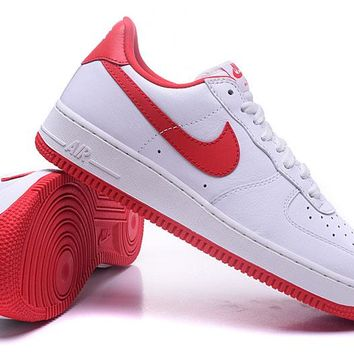 Nike Air Force 1 One Classic White / Red Low Running Sport Casual Shoes 845053-100 Sneakers