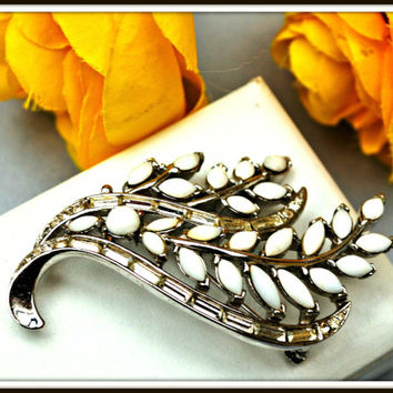 Crown Trifari White Milk Glass Rhinestone Leaf Brooch