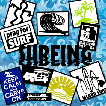 SURFING vinyl decals - surfing sticker - vinyl car decal - car window sticker - custom vinyl decals - vinyl decal - vinyl sticker