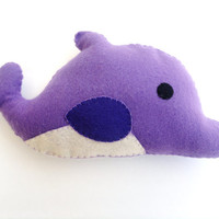 Kawaii Purple Dolphin Plush Felt Stuffed Animal, Mini Pillow or Gift, Original Design