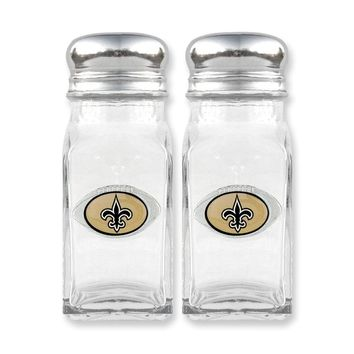 NFL Saints Glass Salt and Pepper Shakers - Etching Personalized Gift Item