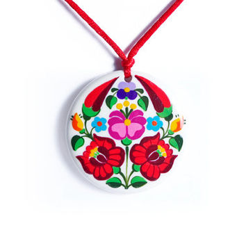 Mintapalinta MOM, Handpainted Porcelain Pendants with Kalocsa or Matyo Embroidery Motifs, Hungarian Folk Art Necklaces