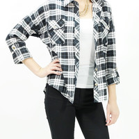 Button down plaids shirt boxy & checks flannel shirts