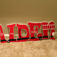 Custom Wooden Hanging Letters, Firetruck Letters, Firetruck decor, Personalized Nursery Letters, Wooden Name decor, Child's name