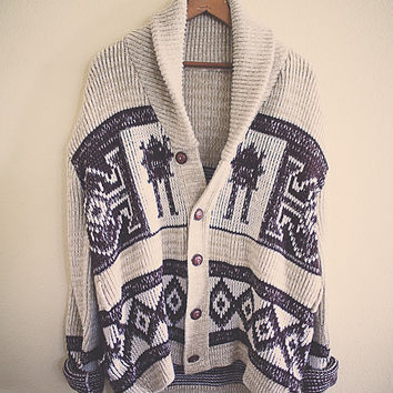 Aztec Big Lebowski Vintage SHAWL COLLAR SWEATER  Large  Sportswear the dude Brown & Tan Aztec Print Oversized Button Southwest Tribal