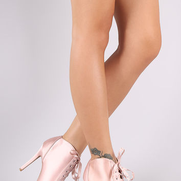 Qupid Satin Peep Toe Lace Up Stiletto Booties