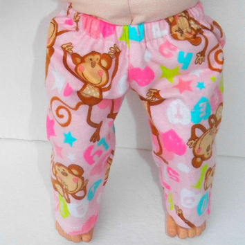 """American Girl Bitty Baby Clothes 15"""" Doll Clothes Pink Monkey Heart Star Spring Summer Flannel Pants"""
