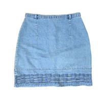 90s Jean Skirt High Waist Light Wash Denim Mini Skirt Textured Womens Miniskirt Boho Preppy Light Blue Skirt Vintage Dells XS Small