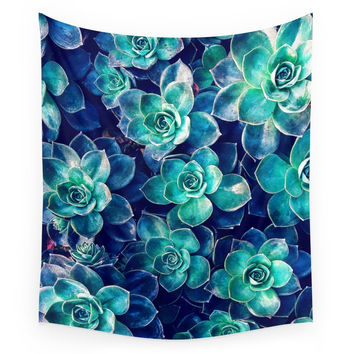 Society6 Plants Of Blue And Green Wall Tapestry