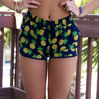 Honolulu Navy Pineapple Print Shorts