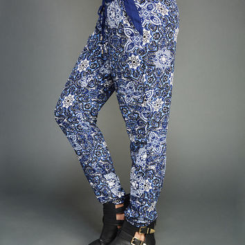Boho In Blue Woven Joggers | Wet Seal
